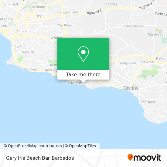 Gary Irie Beach Bar map
