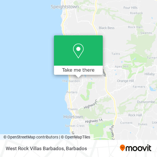 West Rock Villas Barbados map
