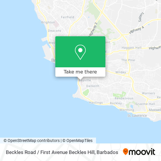 Beckles Road / First Avenue Beckles Hill map