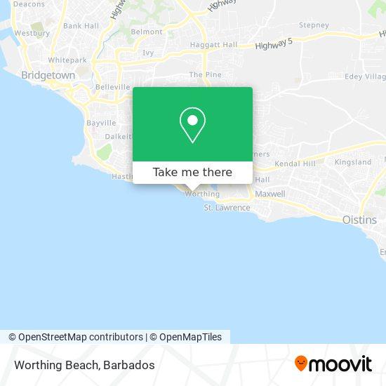 Worthing Beach map