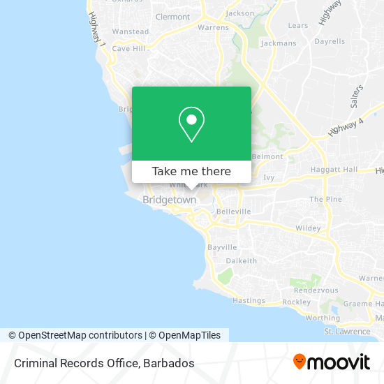 Criminal Records Office map