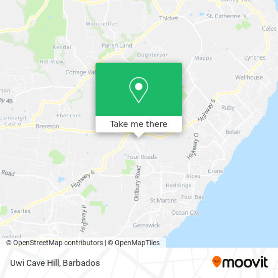 Uwi Cave Hill map