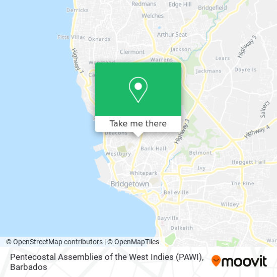 Pentecostal Assemblies of the West Indies (PAWI) map