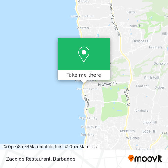 Zaccios Restaurant map