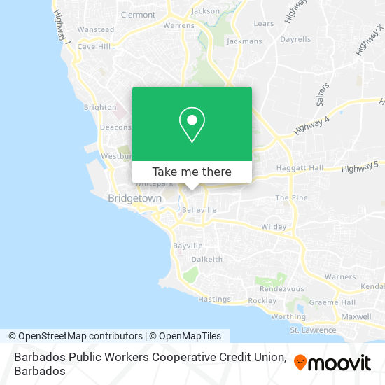 Barbados Public Workers Cooperative Credit Union map