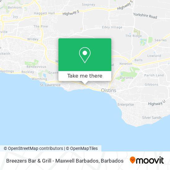 Breezers Bar & Grill - Maxwell Barbados map