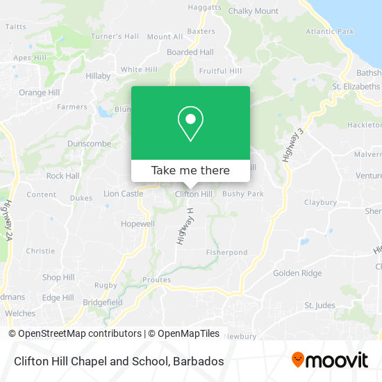 Clifton Hill Chapel and School map