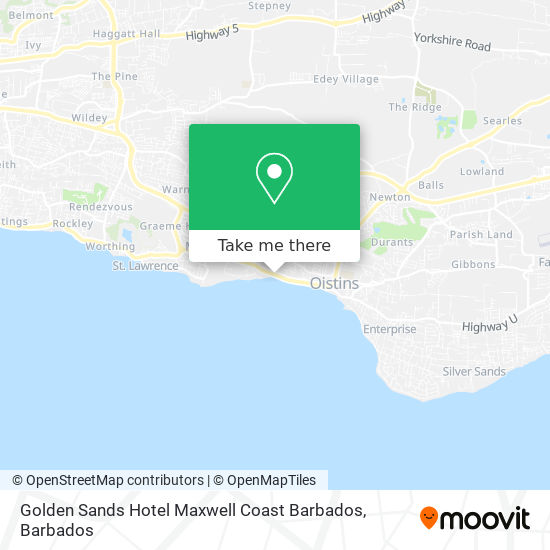 Golden Sands Hotel Maxwell Coast Barbados map