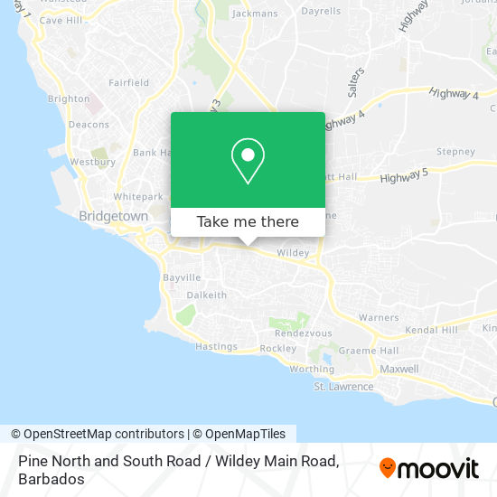 Pine North and South Road / Wildey Main Road map