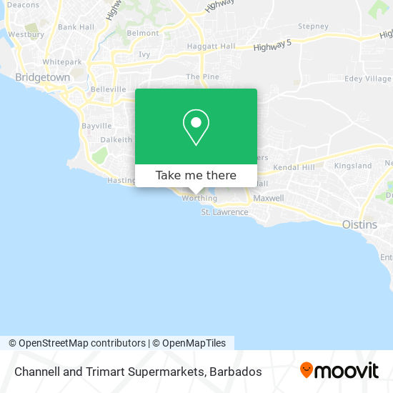 Channell and Trimart Supermarkets map
