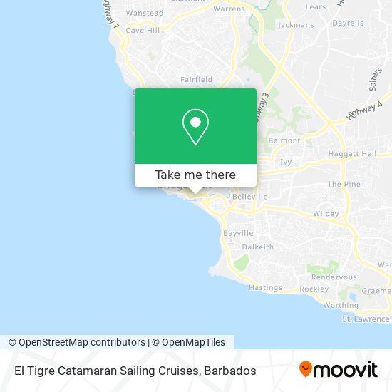 El Tigre Catamaran Sailing Cruises map