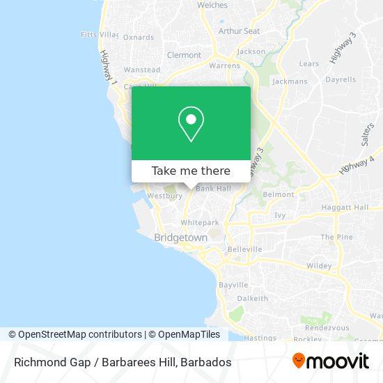 Richmond Gap / Barbarees Hill map