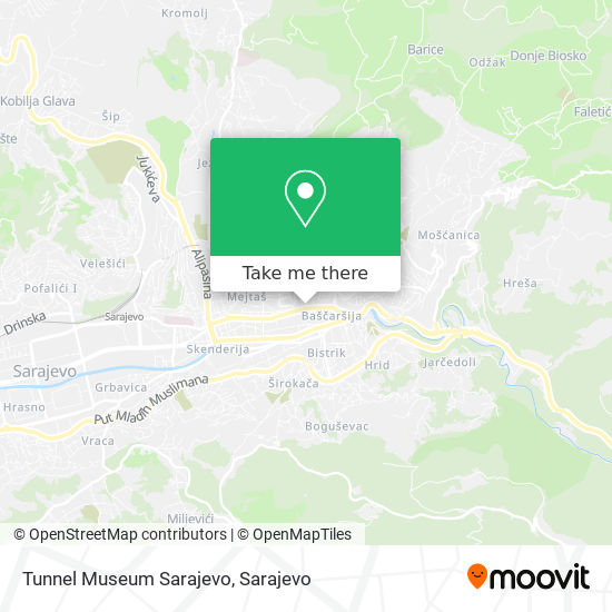 Tunnel Museum  Sarajevo map