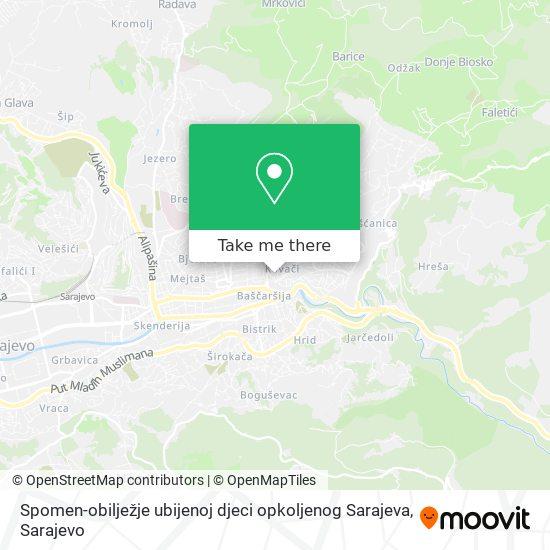 Spomen-obilježje ubijenoj djeci opkoljenog Sarajeva map
