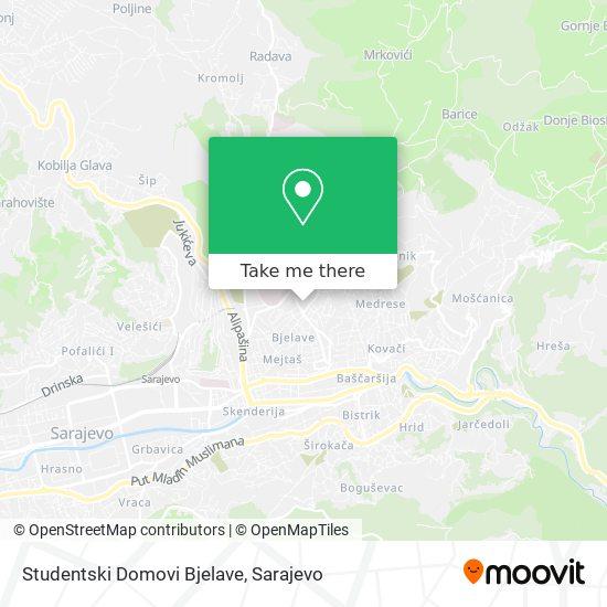 Studentski Domovi Bjelave map