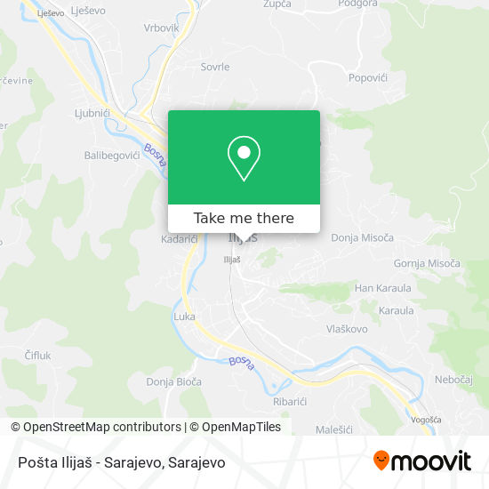 Pošta Ilijaš - Sarajevo map