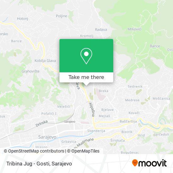"Tribina ""Jug"" - Gosti/Guests map"