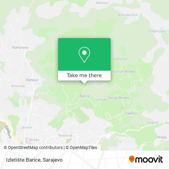 Izletište Barice map