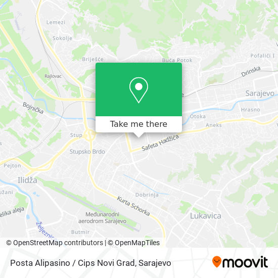 Posta Alipasino / Cips Novi Grad map