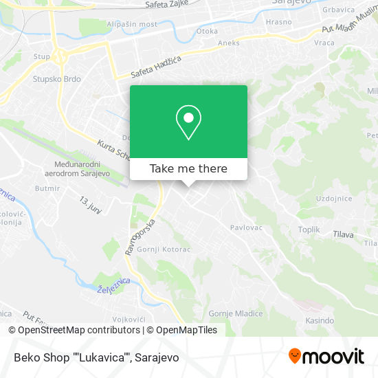 "Beko Shop ""Lukavica"" map"