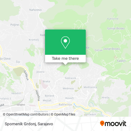 Spomenik Grdonj map