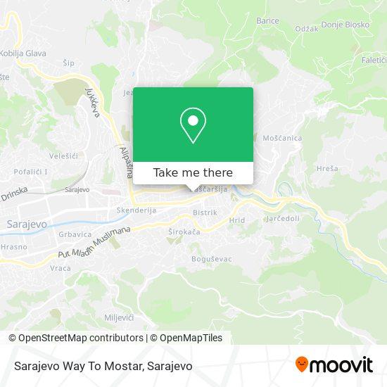 Sarajevo Way To Mostar map