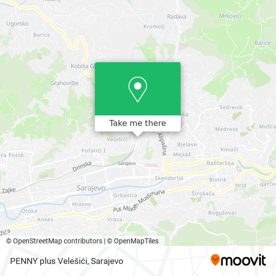 PENNY plus Velešići map