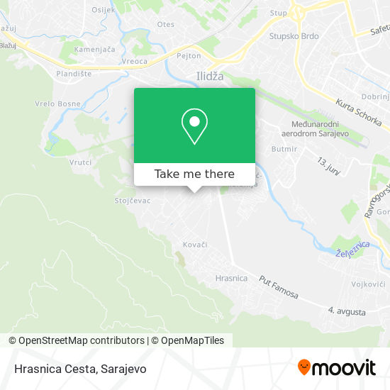 Hrasnica Cesta map