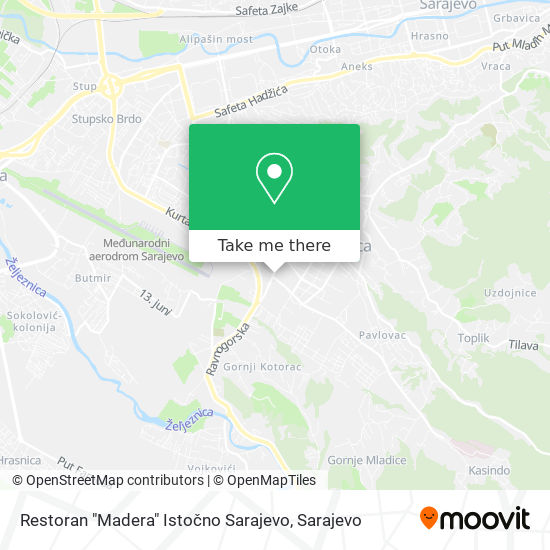 """Restoran """"Madera"""" Istočno Sarajevo map"""