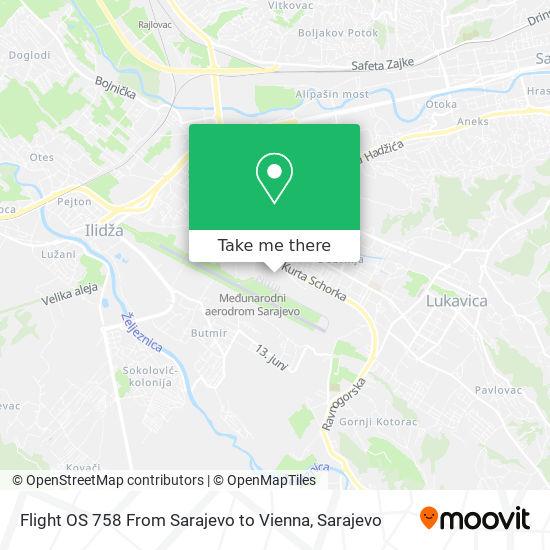 Flight OS 758 From Sarajevo to Vienna map