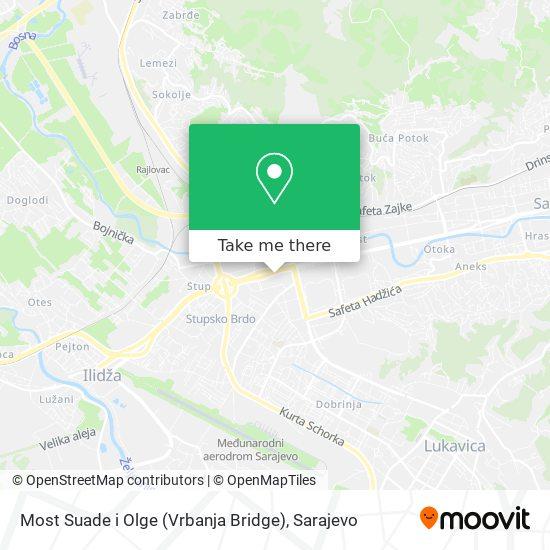 Most Suade i Olge (Vrbanja Bridge) map