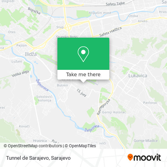 Tunnel de Sarajevo map