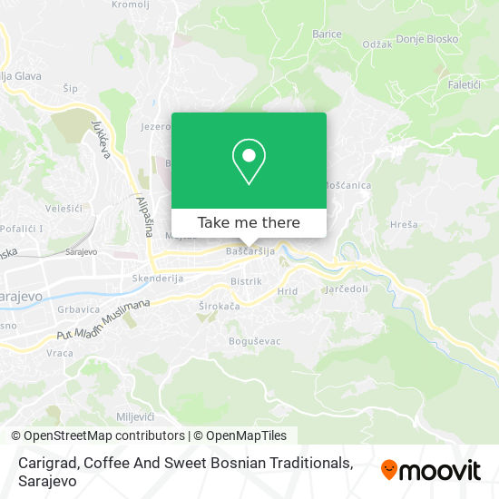 Carigrad, Coffee And Sweet Bosnian Traditionals map