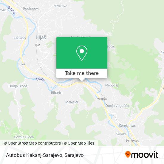 Autobus Kakanj-Sarajevo map