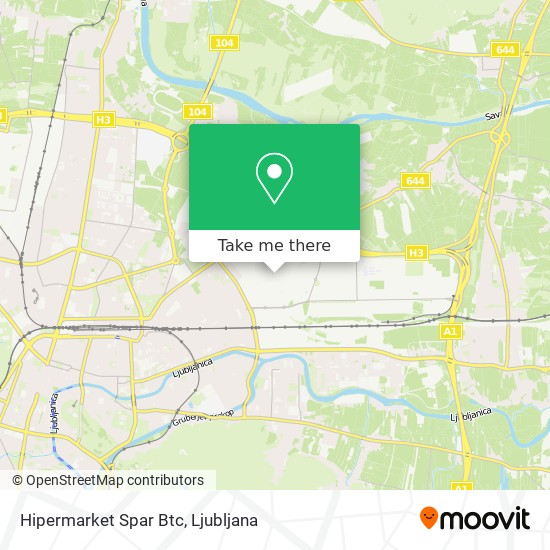 Hipermarket Spar Btc map