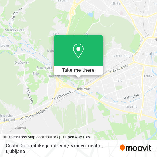 Cesta Dolomitskega odreda / Vrhovci-cesta i map