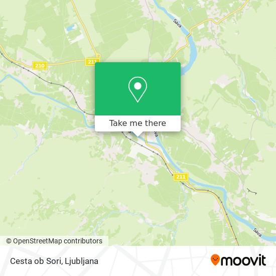 Cesta ob Sori map