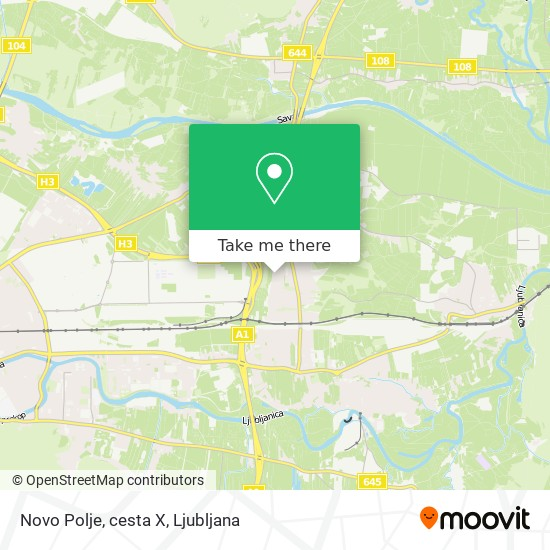 Novo Polje, cesta X map