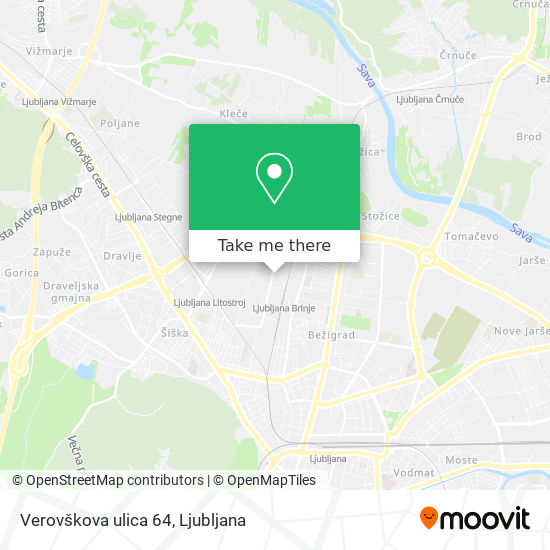 Verovškova ulica 64 map