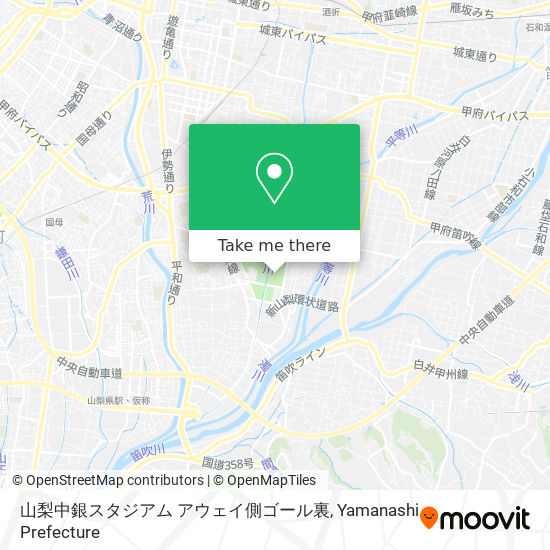 山梨中銀スタジアム アウェイ側ゴール裏地圖