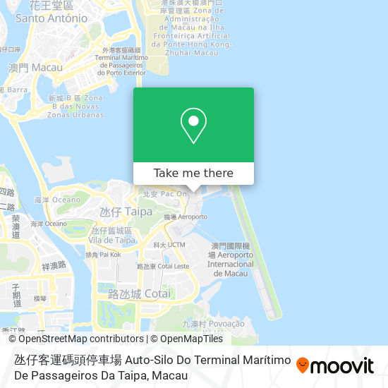 氹仔客運碼頭停車場 Auto-Silo Do Terminal Marítimo De Passageiros Da Taipa map