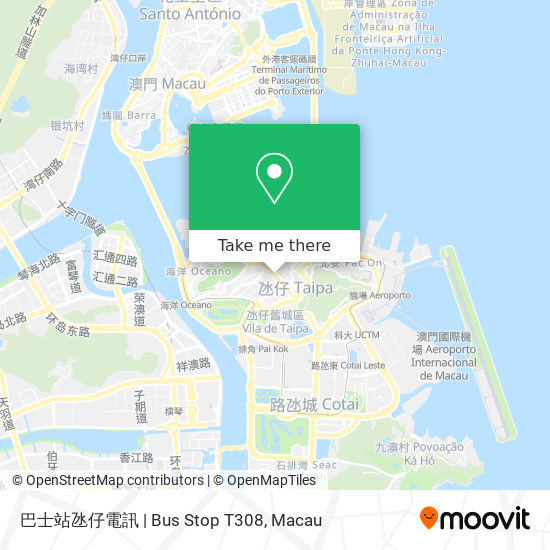 巴士站氹仔電訊   Bus Stop T308 map