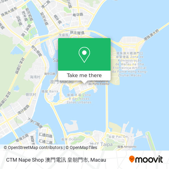 CTM Nape Shop 澳門電訊 皇朝門市 map