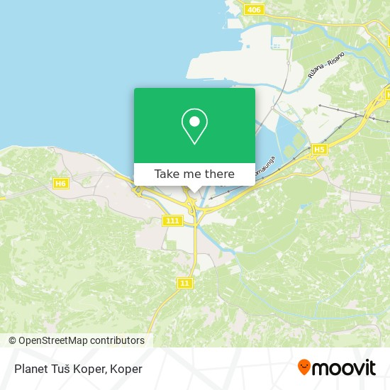 Planet Tuš Koper map