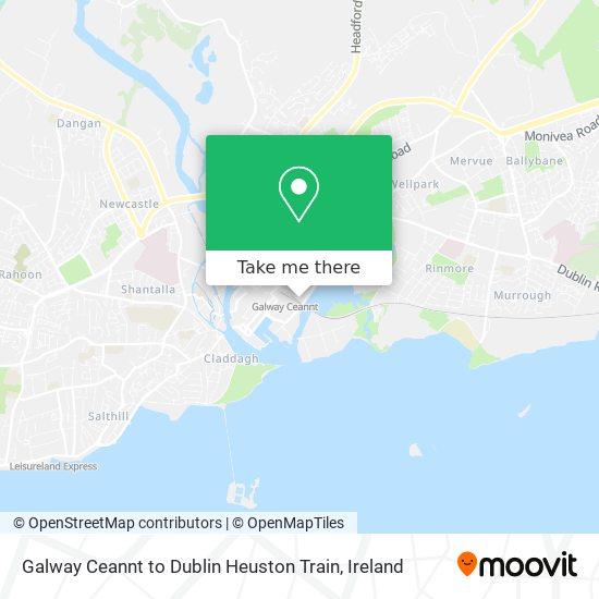 Galway Ceannt to Dublin Heuston Train map