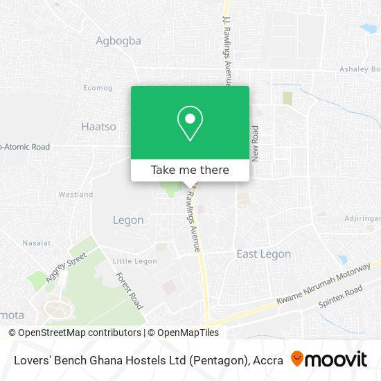 Lovers' Bench Ghana Hostels Ltd (Pentagon) map