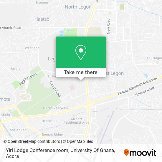 Yiri Lodge Conference room, University Of Ghana map