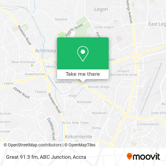 Great 91.3 fm, ABC Junction map