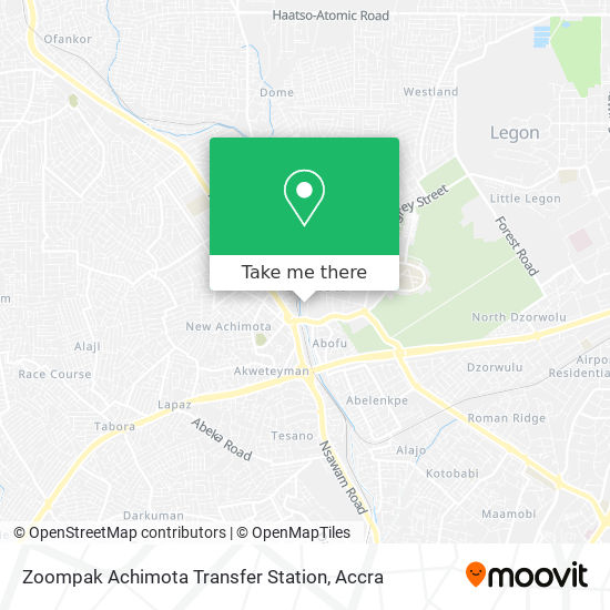 Zoompak Achimota Transfer Station map
