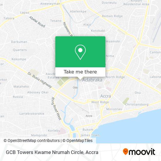 GCB Towers Kwame Nrumah Circle map
